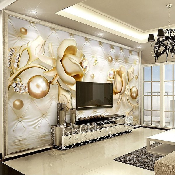 Personalizado Mural Papel De Parede 3D Rosas De Ouro Bola Macia Pacote De Diamante Murales De Pared 3D Papel De Parede Sala de estar Quarto Pintura De Parede