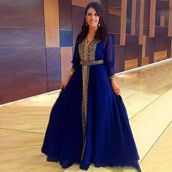 Luxury Sparkly Gold Beaded Muslim Evening Dresses 2019 Dubai Kaftan Formal Party Moroccan Royal Blue Prom Dresses Floor-Length Mother Gowns