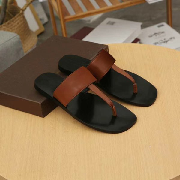mens designer shoes Metal chain slippers designer sandals Flip Flops Sandals summer slides slippers Genuine leather mens shoes w04