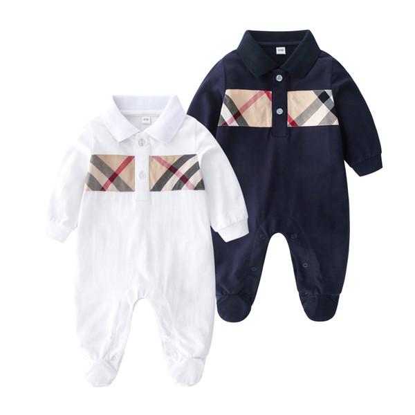 Perakende kaliteli yaka bebek romper karikatür jumpsuits pamuk yeni doğan kız bebek bebekler için pijamalar giyim