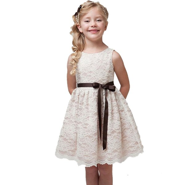2019 Cotton Lace Girl Dress Birthday Formal Occasion Princess Children's Clothing Lace Dresses Hot Summer Party Dress for Girls