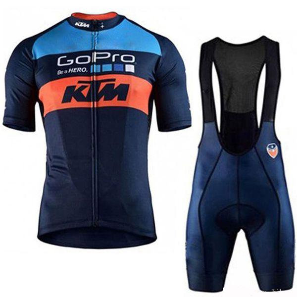2019 KTM Radtrikot Kurzarm Set Maillot Trägerhose Fahrradbekleidung Atmungsaktive Hemdbekleidung Anzug Maillot Ropa Ciclismo