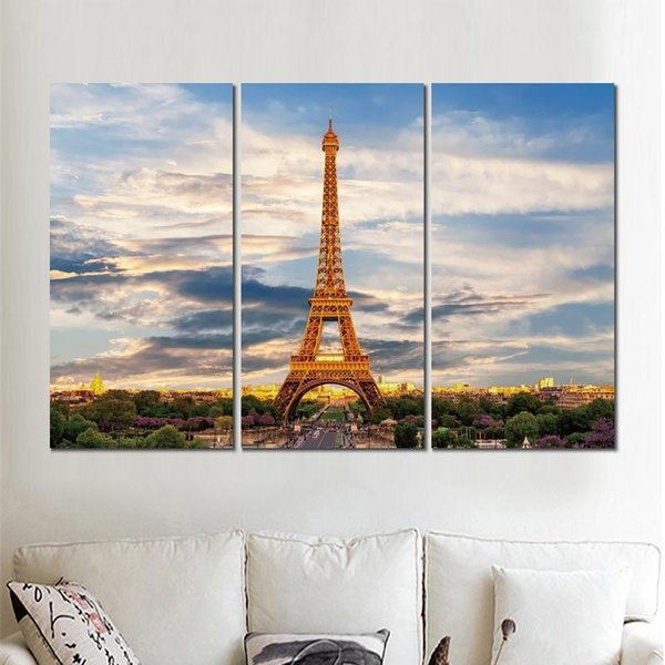 3 sets eiffel tower paris france canvas printed painting wall pictures for living room decor