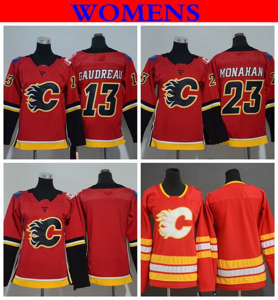 2020 2018 Womens Calgary Flames Hockey Jerseys Home Red Ladies 13 Johnny Gaudreau 23 Sean Monahan Stitched Jerseys S Xl From Redtradesport 25 66 Dhgate Com