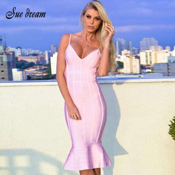 Платье-повязка 2018 Лето Женщины Розовый ремень спагетти Русалка Vestidos Глубокий V-образным вырезом до колен Платья для вечеринок для знаменитостей Vestidos Q190328