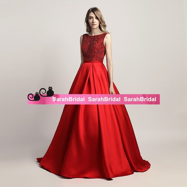 Gorgeous Red Scoop Neck Prom Dresses Long 2019 Beadings Appliqued Ball Gown Formal Evening Party Gowns Satin Pageant Dress