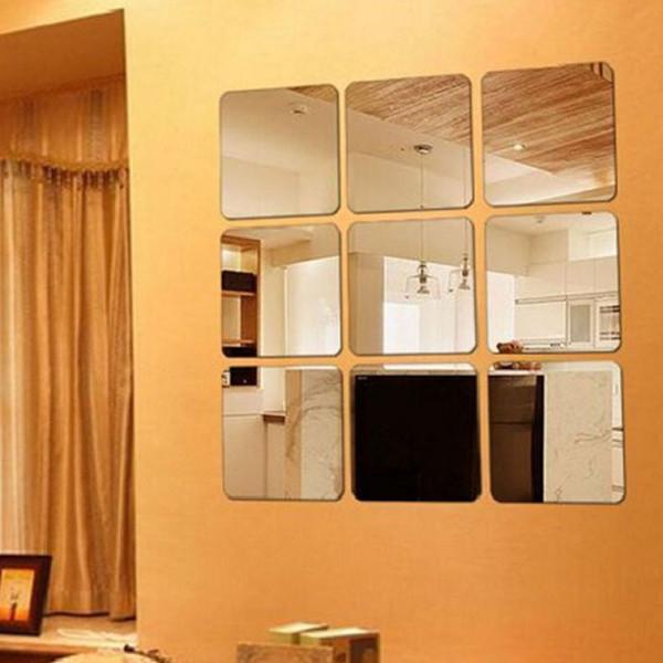6 Adet / grup Kare Yüzey Kendinden yapışkanlı Duvar Sticker Avrupa Tarzı Lüks Altın Duvar Sticker Tuvalet Banyo Su Geçirmez Ayna 10 Lot DHL
