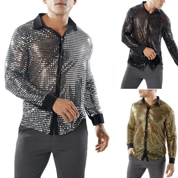 Chic Dance Tops Mens Dots Glitter Sequins Tee Long Sleeve Shirt Tops Gold Silver Black Tshirt Men Streetwear HipHop Camiseta NEW
