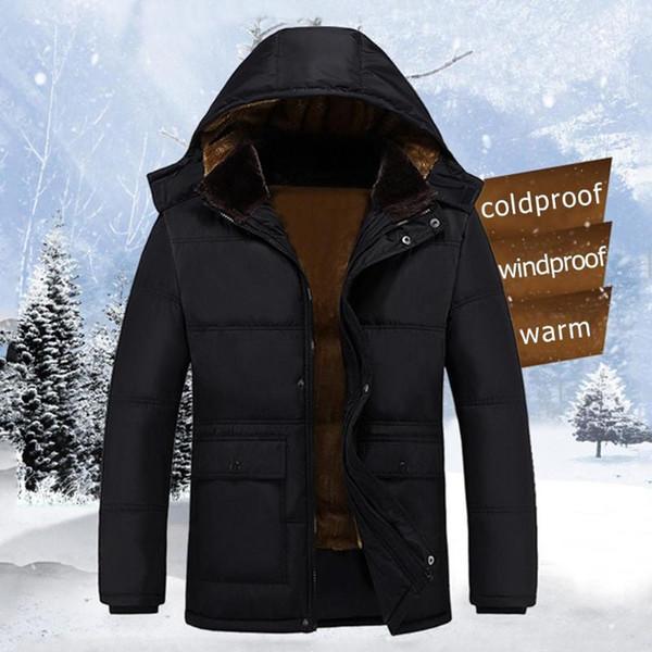 Homens de inverno Casaco De Lã Parkas Gola De Pele Casuais Com Capuz Engrossar  Quente Casacos 60ea8fb16f862