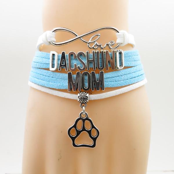 Bracelet Dachshund breloque chien Maman Teckel Bracelets en cuir blanc et bleu Bracelets pour femme et homme