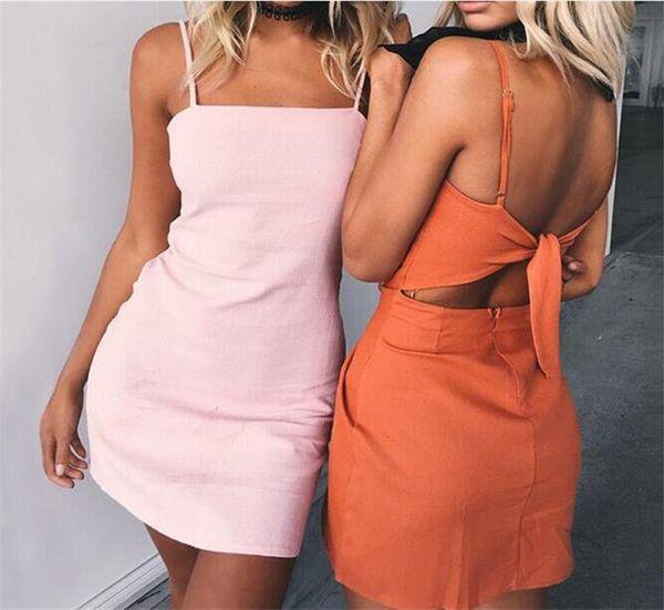 10pcs women Solid Spaghetti Strap Dress Sexy Bow Backless Dress Skirt Shoulder Straps Dresses M432