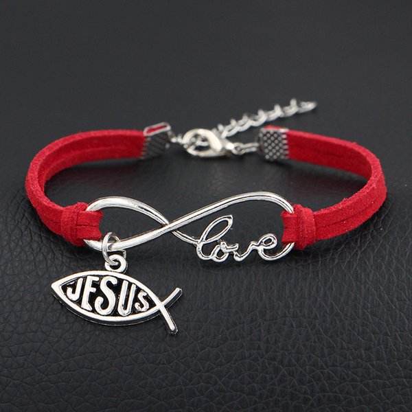 2019 New Design Fashion Red Leather Cord Bracelet Bangles Silver Alloy Infinity Love Jesus God Cross Fish Pattern Pendant Charm Jewelry Gift