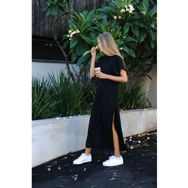 Maxi T Shirt Dress Women Summer Beach Casual Sexy Boho Elegant Vintage Bandage Bodycon Wrap Black Split Long Dresses Plus Size J190611