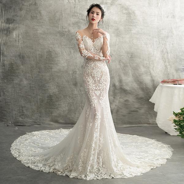 Vendita calda 2019 maniche lunghe sirena pizzo abiti da sposa sexy sheer indietro pulsanti da sposa abiti da sposa robe de mariee plus size customed