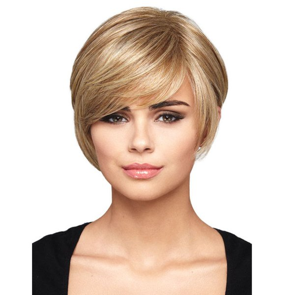 """10"""" Short Blonde Hair Wigs Afro Short Hair Cuts Bob Wig Fluffy Fashion Mix With Bangs Straight Synthetic African American Wigs For Women"""