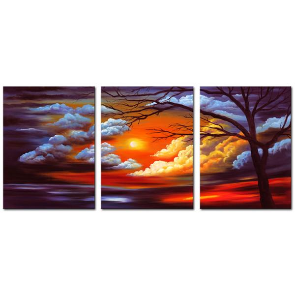 Unframed 3 Pieces Canvas Wall Art Schöne Wolken und Bäume Gemälde Leinwand für die Meeresfarben Home Living Room Moderne dekorative Kunstwerke
