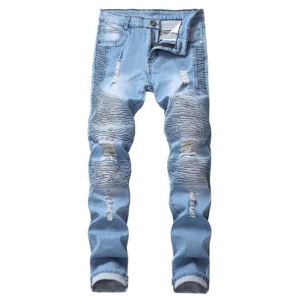 New Fashion Mens Jeans Men 6 Colors Stretch Denim Jeans For Men Slim Wash White Jean Pants Trousers Man Plus Size 28-42