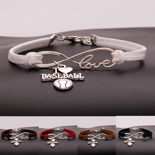 Antique Silver Punk Love Infinity I LOVE BASEBALL Bracelet Wrap Leather Bracelet Charm Bracelet For Women Men Friendship Gift Jewelry