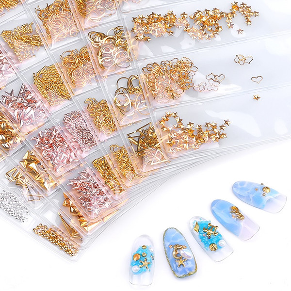 best selling Tamax NA009 Mixed 6 styles bag 3D Gold Metal Rivets Nail Studs Round Animal Moon Decoration Nails Shell Sticker Manicure DIY Accessories