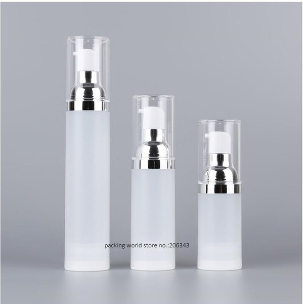 30ml frosted airless bottle silver pump clear lid serum/lotion/emulsion liquid foundation/recovery complex cosmetic packing