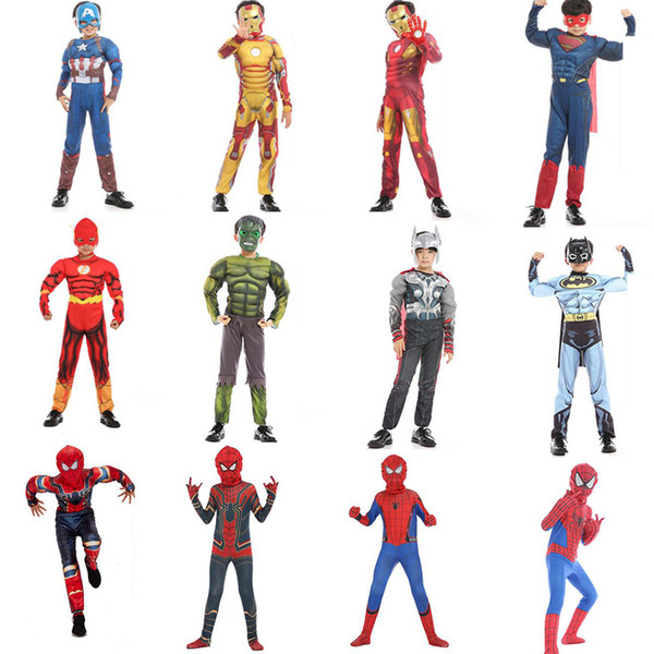 Boy halloween cosplay costume Spiderman Iron Man Hero Jumpsuit with Mask Baby boy birthday gift graduation clothes kids clothing