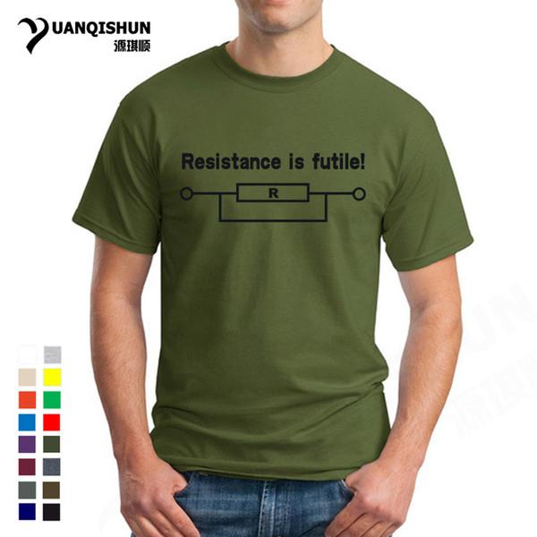 Top Quality 16 Colors Humor Men T Shirts Resistance Is Futile Funny Printed Mens Tshirt Borg Slogan Star Birthday Novelty Design