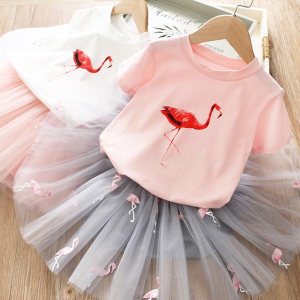 Kids Cute Cartoon Printed Flamingo T-shirt + mesh Skirt 2pcs dress set for summer baby girl sweet outfits cake layer tutu dresses suit