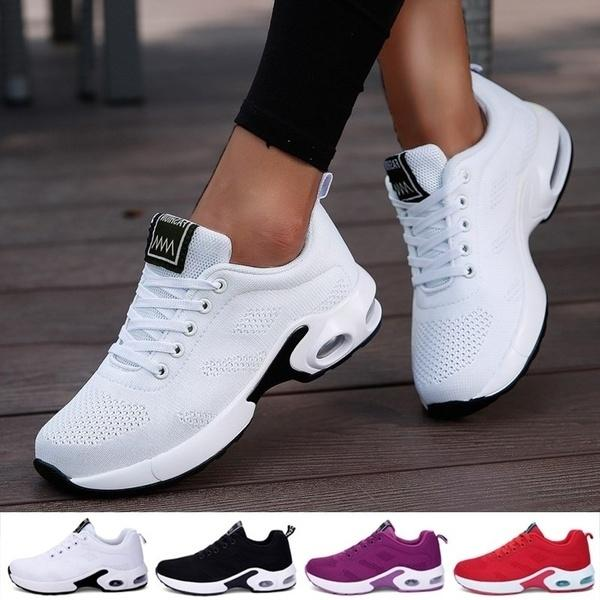 New Women Air Cushion Running Shoes Sports Tennis Shoes Breathable Lightweight Sneakers Comfortable Mesh Flying Woven Shoes