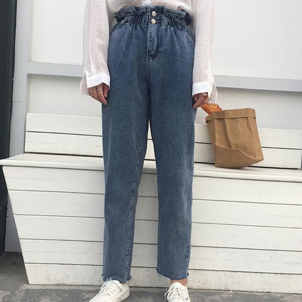 2019 весна высокой талией гарем джинсовые брюки женские длинные джинсы с поясом синий бежевый белый карандаш брюки брюки мода уличная одежда