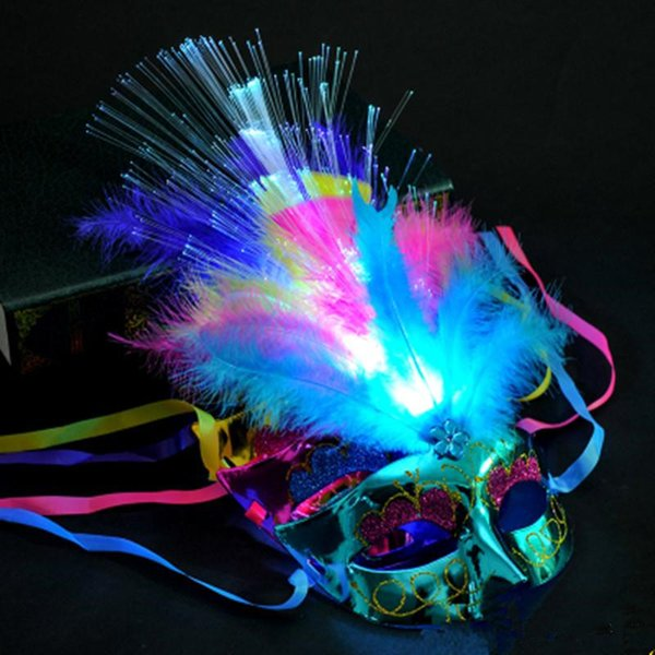 Hot Sale Women Venetian LED Fiber Light up Mask Masquerade Fancy Dress Party Princess Feather Glowing Masks masquerade masks