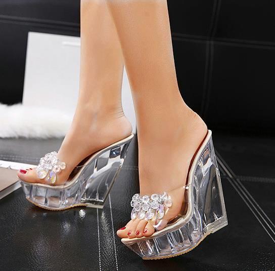 14cm Lüks El Yapımı Kristal Ayakkabı Boncuklu Kama Topuk Temizle Sandalet Kadınlar Tasarımcı Katır Gelin Düğün Ayakkabı Kutusu ile gel