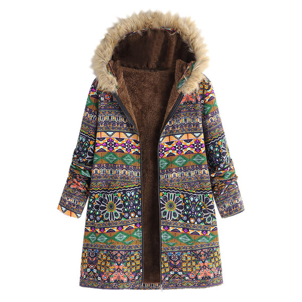 Womens Winter Warm Outwear Floral Print Hooded Pockets Vintage Oversize Coats Winter Jacket Womens Outwear Parkas for Women