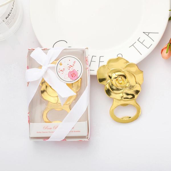 Rose Bootle Opener Goldrosen-Blumen-Form-Bierflasche-Öffner-Hochzeit bevorzugt Verlobungen Ereignis Andenken Freies DHL