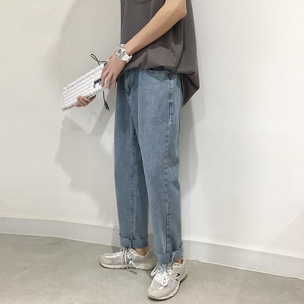 Erkekler Modası Kot Harem Pantolon 2019 Yaz Streetwaer Hip Hop Gevşek Denim Pantolon Erkek Düz Mavi Pantolon Kot Erkekler