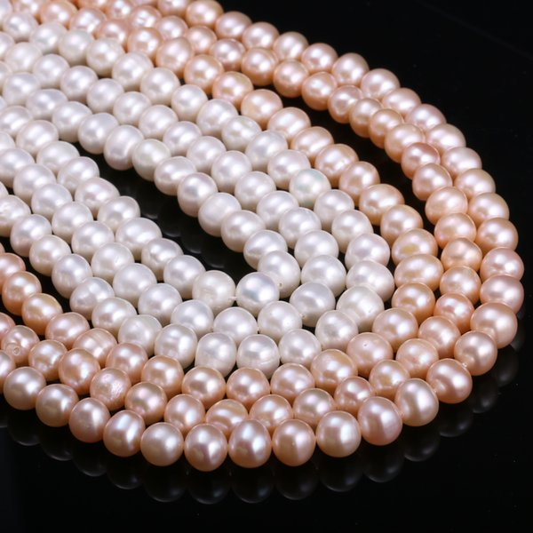 JNMM Natural Freshwater Cultured Pearls Beads Round 100% Natural Pearls for Jewelry Making Necklace Bracelet 15 Inches Size 7-8mm