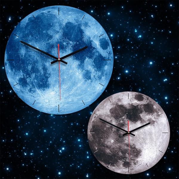 홈 크리 에이 티브 라운드 문 벽 시계 2019 거실 장식 아크릴 스테레오 음소거 레트로 북유럽 시계