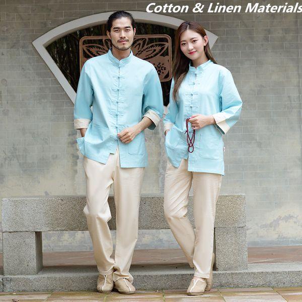 Tailleur blu bianco bianco Giacca + pantaloni Unisex in cotone e lino Abbigliamento estivo Kungfu Abbigliamento Wushu Taiji Lino mezza manica Tute