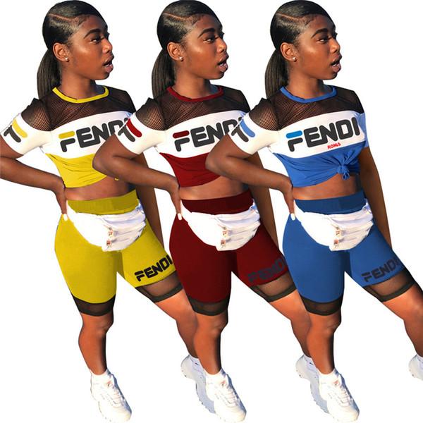 Été Femmes F Lettre Imprimer Short Ensemble Survêtement Col Rond T-Shirt + Shorts Filles Deux Pièces costume Jogger Outfits Sportswear 2019 A42303