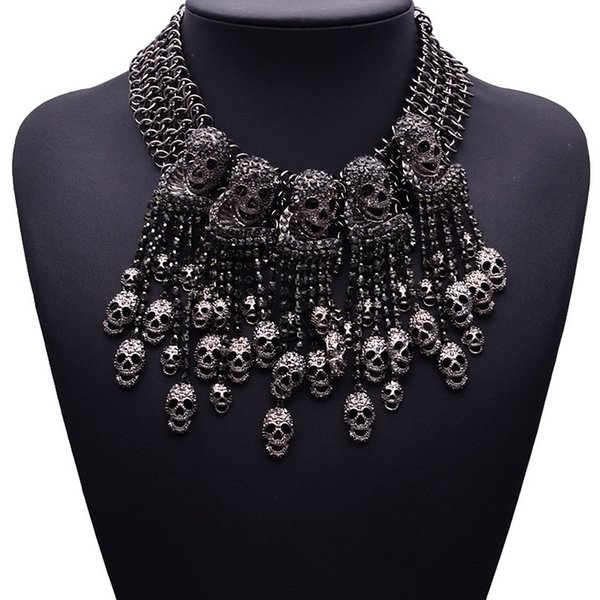 2018 Exaggerated Necklace Skeleton Head Short Chain Female Retro Fashion Accessories Collar Skull Necklace Punk Party Jewelry J190610