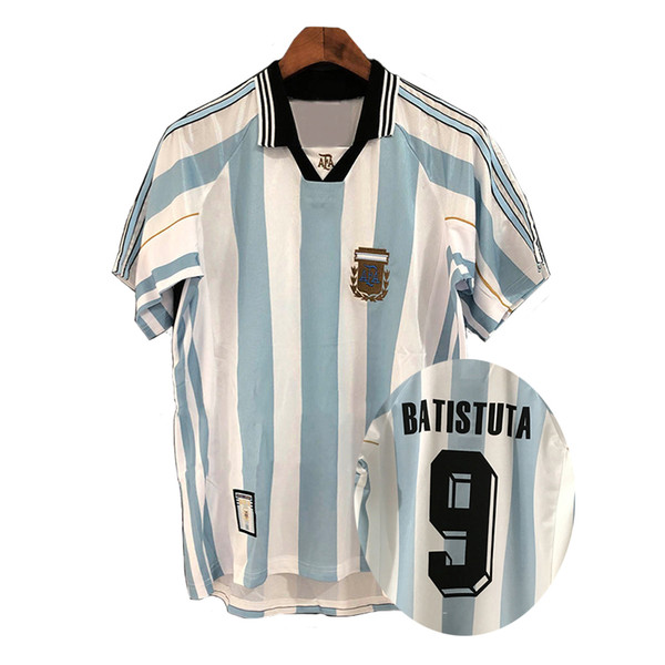 Retro version Argentina 1998 Home Soccer Shirt 98 Argentina BATISTUTA Short Sleeve Football Jersey National Team Customize Uniforms