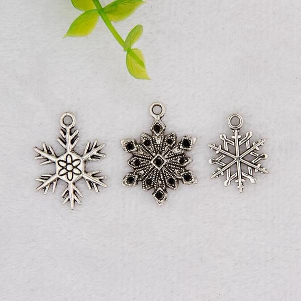 100pcs / lot Antique Silver Flocon De Neige Charm Pendentif Fit BraceletNecklaceEarringKeychain Femmes Bijoux Créatifs Accessoires Cadeau