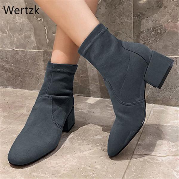 2020 Stretch Flock Fashion Square Mittlerer Absatz Slip on Stiefeletten Herbst Winter Round Toe Concise Damen Schuhe Größe 34-39 A392