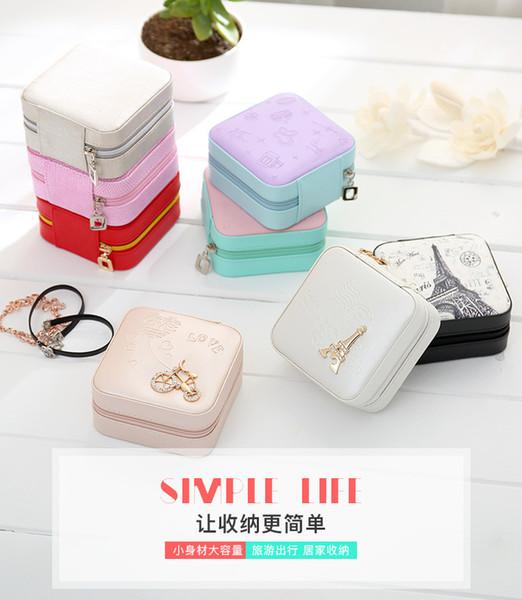 5pcs Women's Mini stud earrings rings Jewelry Box Useful Makeup Organizer With Zipper Travel Portable Jewelry Box
