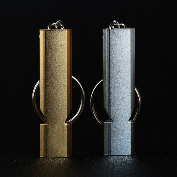 Wholesale hot sale Outdoor Double frequency Emergency Survival Whistle Keychain Aluminum Alloy whistles Camping Hiking Tool