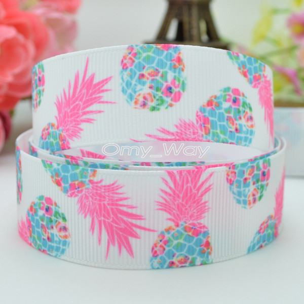 "Lilly Ribbons 7/8"" 22mm Pineapple Flowers Printed Grosgrain Ribbon Hair Bow DIY Handmade Crafts Ribbon Print 50Yards"