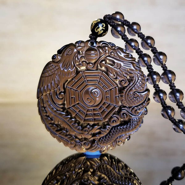 100/% Natural Obsidian Hand Carved Dragon Phoenix Lucky Pendant