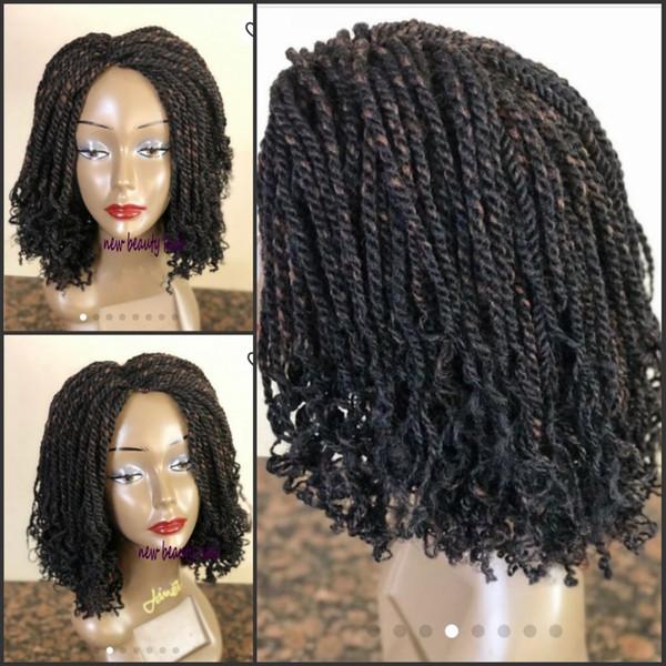 Parte libre handtied Senegalese Twist peluca delantera de encaje completa 180 densidad corta trenzada peluca Trenzas sintéticas para mujeres negras
