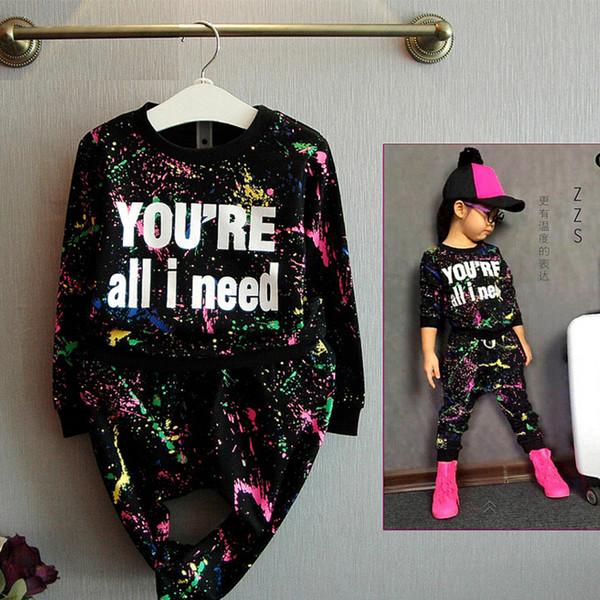 2019 Yeni Moda Kız Eşofman Bebek Çocuk Spor Giyim Seti Coloful Mektup Baskılı Çocuk Takım Elbise Giyim Seti 2-7years Eski Y190518