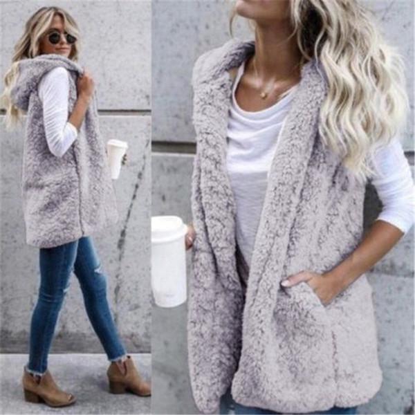 New Winter Hooded Waistcoats Ladies Casual Sleeveless Faux Fur Coats Womens Warm Vests Open Stitch Jackets Outwears