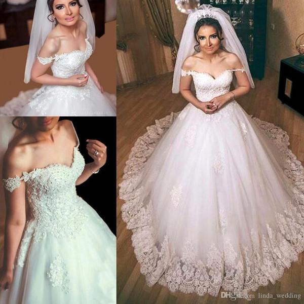 2019 Estilo Árabe Do Vintage Dubai Lace Appliqued Vestido De Noiva Pricness Fora Dos Ombros vestido de Baile De Luxo Vestido De Noiva Custom Made Plus Size